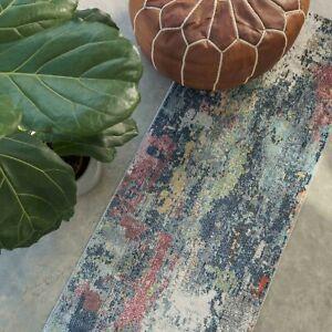 Abstract Runner Rugs for Living Room Moroccan Paint Splash Navy Blue Carpet