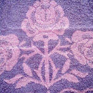 58cm x 116cm Vintage Cotton Towel Plush Thick Terrycloth Fabric Purple 1960s