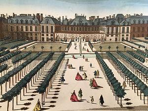 Palais Royal  Paris Vue d'optique Perspective 18 ème  Gravure XVIII