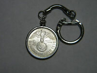 WW2 1939 German 2 Mark Silver Third Reich Coin With Large Swastika Keychain Fob