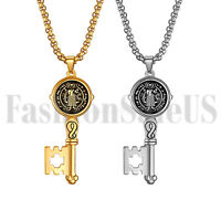 Men Stainless Steel St. Benjamin Exorcism Key Protection Cross Pendant Necklace