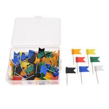 100 Pcs Multicolor Flag Push Pins Marker Tacks Thumbtack for Notice Cork Board