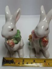 Adorable Hand Painted White Porcelain Bunny Salt Pepper Shakers Holding Tulips