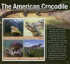 More details for antigua & barbuda reptiles stamps 2019 mnh american crocodile crocodiles 4v m/s