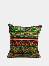 Peruvian Green Embroidered Cushion Cover by Burana