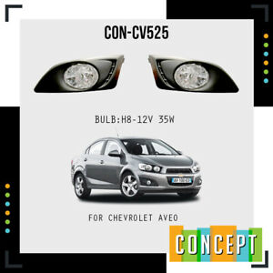For 2012-2016 Chevy Sonic/Aveo Clear Front Bumper Fog Lights Kit w/ Bulbs Covers