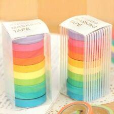 10x Rainbow Washi Sticky Paper Masking Adhesive Decorative Tape Scrapbooking DIY