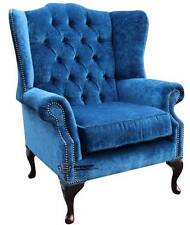 Chesterfield Mallory Queen Anne Flat Wing High Back Velluto Royal Blue Fabric