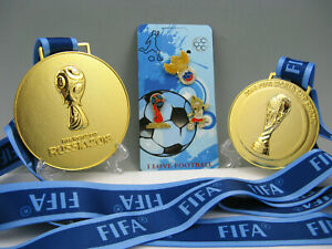 2014 Brazil / 2018 Russia  FIFA Football World Cup Gold Medals with Mascot Gift