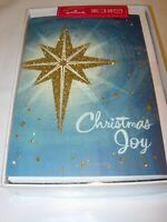 16 Christmas Cards & ENVELOPES HALLMARK BLUE GOLD GLITTER RELIGIOUS GODS JOY 5X7