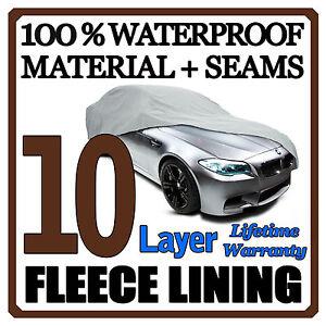 10 Layer Car Cover Breathable Waterproof Layers Outdoor Indoor Fleece Lining Fip