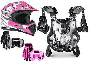 Youth Kids Chest Protector Helmet Pink DOT Motocross ATV Combo Gloves Goggles
