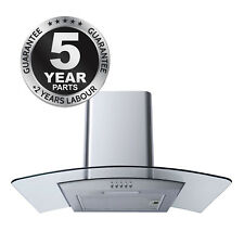 SIA CG61SS Stainless Steel 60cm Curved Glass Chimney Cooker Hood Extractor Fan