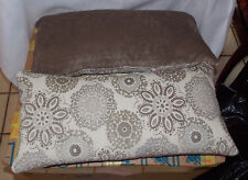 Pair of Cream Taupe Flower Print Bolster / Lumbar Pillows  26  x 13