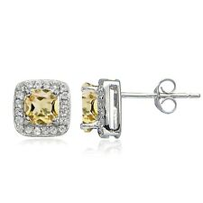 Sterling Silver 1.6ct Citrine & White Topaz Cushion-Cut Stud Earrings