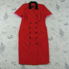 Escada By Margaretha Ley Double Breasted Dress wool red pink black size 40 M