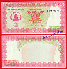 ZIMBABWE BEARER CHEQUE 10000 Dollars dolares 2003-2005 Pick 22 SC / UNC