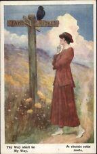 Beautiful Woman at Metaphorical Signpost THY WAY SHALL BE MY WAY Postcard