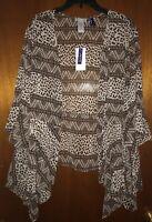 Catherines Women's Plus Petite, Flowy Patterned Kimono Top, 2XP 22/24 WP NEW!