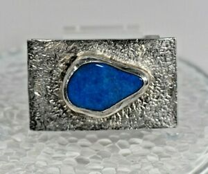 H. Alvin Sharp Blue Agate  Sterling Silver  Handmade Belt Buckle  Mardi grass