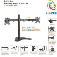 "G4RCE Dual Monitor Bracket For 13-32"" Double Arm PC LCD Screen Mount Desk Stand"