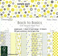 DOVECRAFT BACK TO BASICS BABY STEPS PAPERS - 6 X 6 SAMPLE PACK  - 12 SHEETS