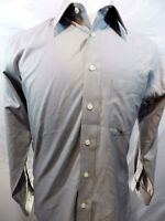 Joseph & Feiss Sz 15.5 Mens Shirt Gray Fitted Non Iron Button Front Long Sleeve