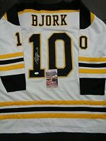 Anders Bjork Boston Bruins Autographed Signed White Style Jersey XL coa JSA