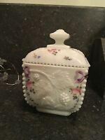 Vintage Westmoreland Milk Glass Square Beaded Grape Covered Candy Dish