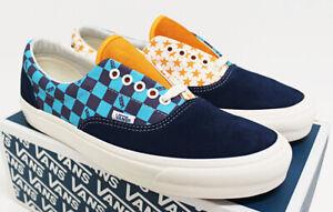 NIB VANS Men's OG Era LX Navy Aqua Checkers & Stars Suede Canvas Sneakers Shoes