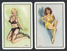 #150.144 vintage swap card -NEAR MINTpair- Pinups yellow bikini & black lingerie