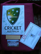 "AUSTRALIAN CRICKET LOGO *17* HAND SIGNED ASHES PHOTO 12"" x 16""- CLARKE - COA"