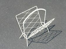 Vintage White 'Cross & Ball' V-Shaped Magazine Rack w/ Handle Chic Shabby French