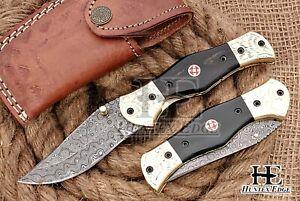 HUNTEX Custom Handmade Damascus 110mm Buffalo Horn Folding Pocket Skinning Knife