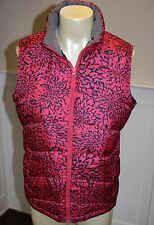 Lands' End Women's M (10/12) NWT Red Coral Floral Print Down Puffer Vest Jacket