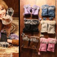 Popular Soft Women Warm Winter Women Rabbit Fur Suede Fingerless Gloves Mittens