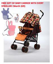 Baby Stroller Pram with 5 Position Seat Rear brake and big basket- Orange Colour