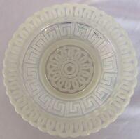 Antique EAPG Nickel Plate Co Double Greek Key Lemon Plate Fostoria Opalescent