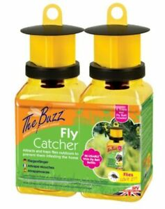 The Buzz Fly Catcher – 2 Pack (Super Effective, Refillable Insect Attractant for
