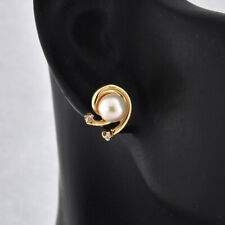 Vintage 14K Solid Gold 5 mm Cultured Pearl  2 Diamonds  Post Push Back Earrings