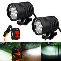 2pc 60W Motorcycle Motorbike LED Headlight Spot Light Fog Driving Lamp W/ Switch