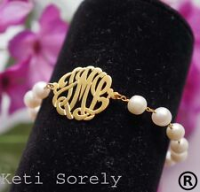 Pearl Monogram Bracelet (Order Your Initials) - Sterling Silver W/Gold overlay