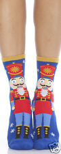 Foot Traffic Christmas Nutcracker Slipper Non Skid Socks Ladies Red Blue New