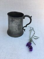 GEORGIAN PEWTER Early 19thC MUG TANKARD Crowned WR Mark
