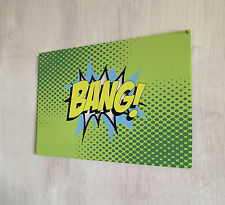 BANG Comic EFX green sign A4 metal plaque pubs and clubs kitchens