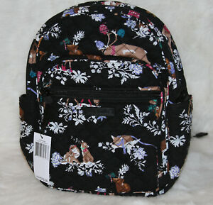 Vera Bradley Iconic Small Backpack Bag Purse Merry Mischief Deer EXACT NWT
