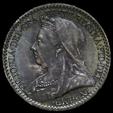 More details for 1898 queen victoria veiled head silver maundy penny, unc