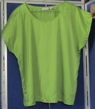 EUC Lime Green CHICO'S Tunic TOP w.Cap Sl & SCOOP NECKFLINE Sz 4 POLY & SPANDEX