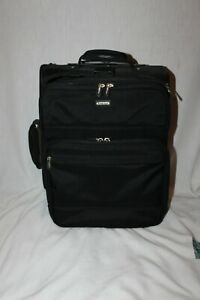 """Brookstone 18"""" Black Quality Nylon Rolling Carry On Suitcase Nice & Solid"""