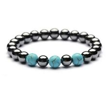 Hematite Turquoise 8mm Bracelet Grounding Balance Memory Anxiety Relief Stretch